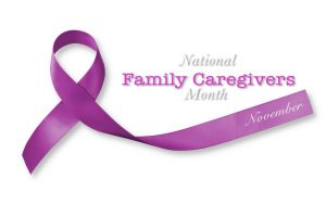 alzheimer's caregiving: National family caregivers month in November with plum purple ribbon awareness